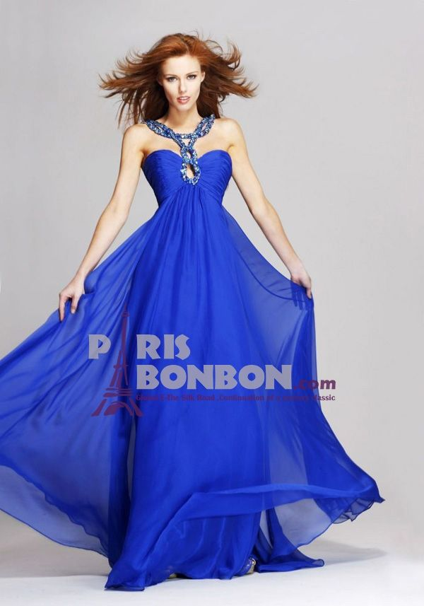 A-line Straps Floor-length in Chiffon Evening Dress