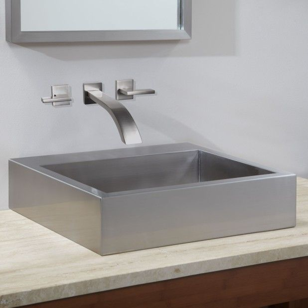 Bathroom Simple Square Stainless Steel Vessel Sink Design