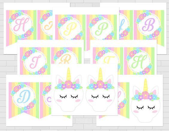 Unicornio Imprimible Feliz Cumpleanos Banner Fiesta De Cumpleanos