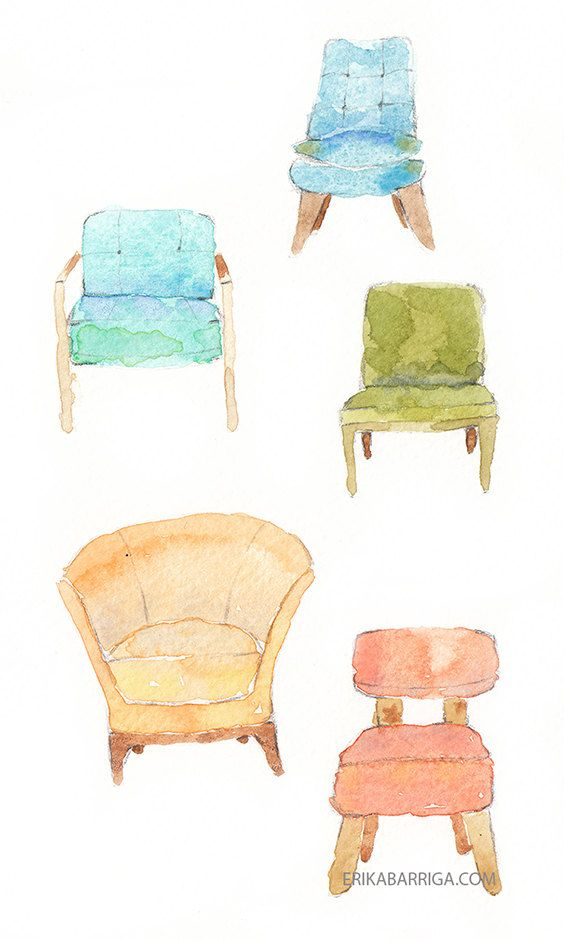 Vintage Chairs Home Decor Watercolor Chair Illustration Vintage Chairs Chairs Logo Retro Lounge Chairs