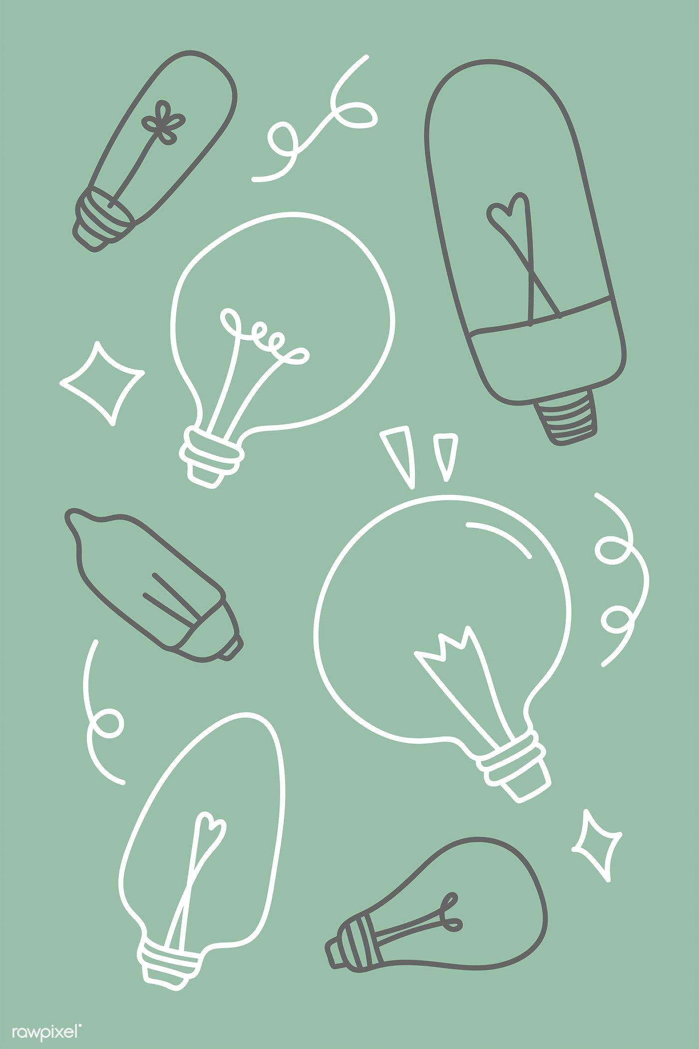 Creative light bulb doodle on green background vector