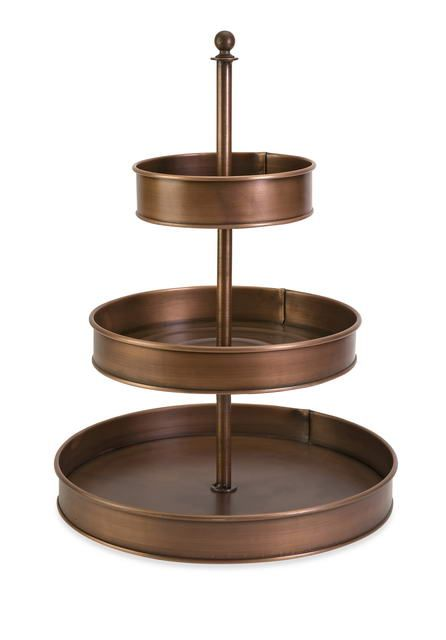 Copper 3 Tier Metal Stand Perfect For Displaying Food Cake Or Decor This Fall Tiered Stand Tiered Fruit Basket Metal Decor