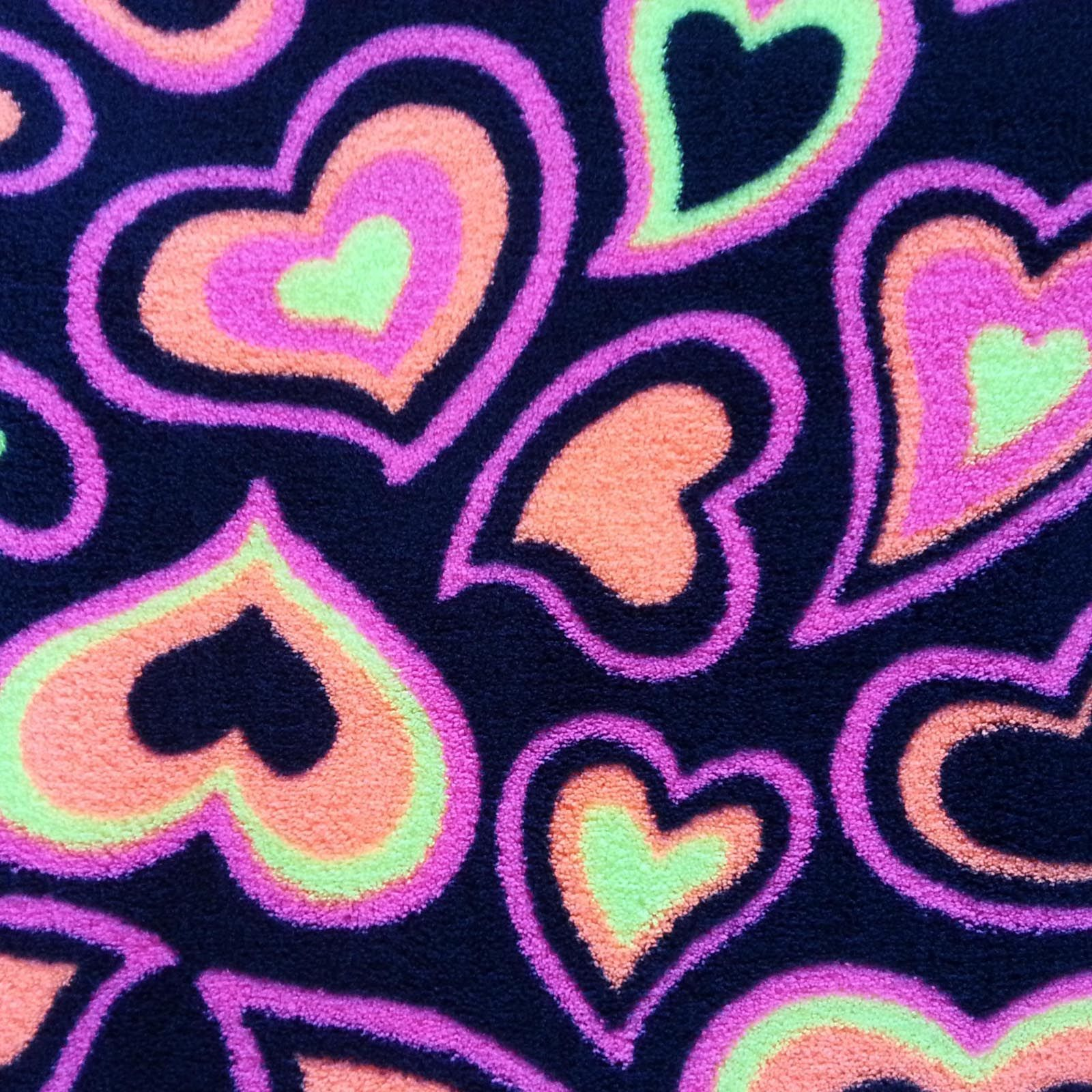 Ultra fluffy fabricneon hearts fabrics and patches in