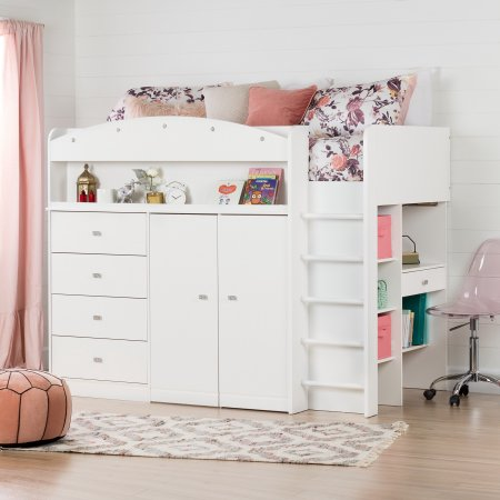 South Shore Tiara White Twin Loft Bed With Desk 39 Walmart Com Low Loft Beds Twin Size Loft Bed Twin Loft Bed