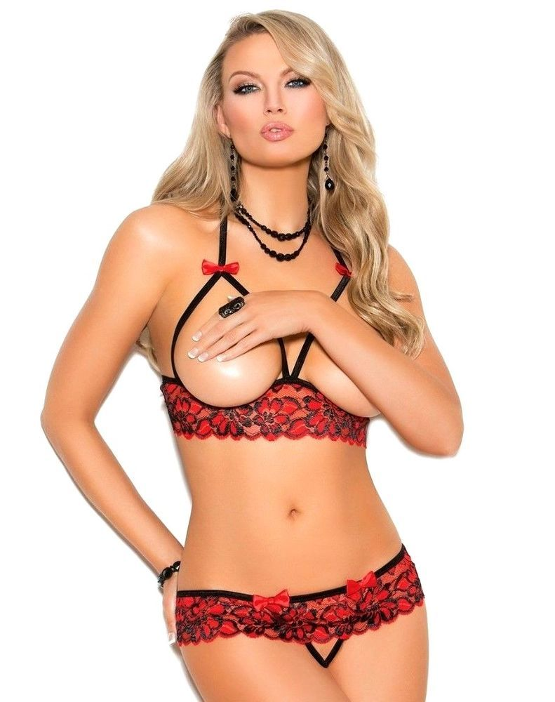 a37b5df8f737 Strappy and Seductive Cupless halter neck floral lace bra set. Includes  matching, Cheeky crotchless panty with satin bows. Heavily Detailed Red ...