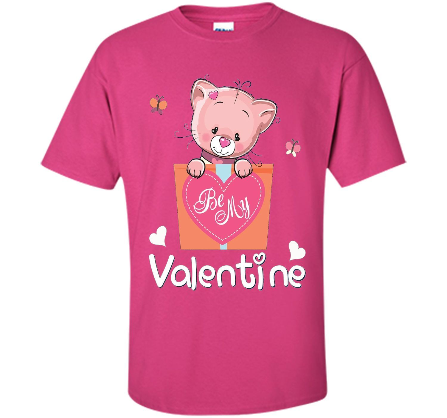 Valentines Day Be my Valentine T-Shirt Cat for Boys & Girls