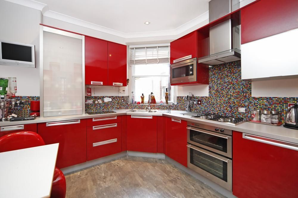 Kitchen Design Red Tiles off white kitchen cabinets with black island | home | pinterest