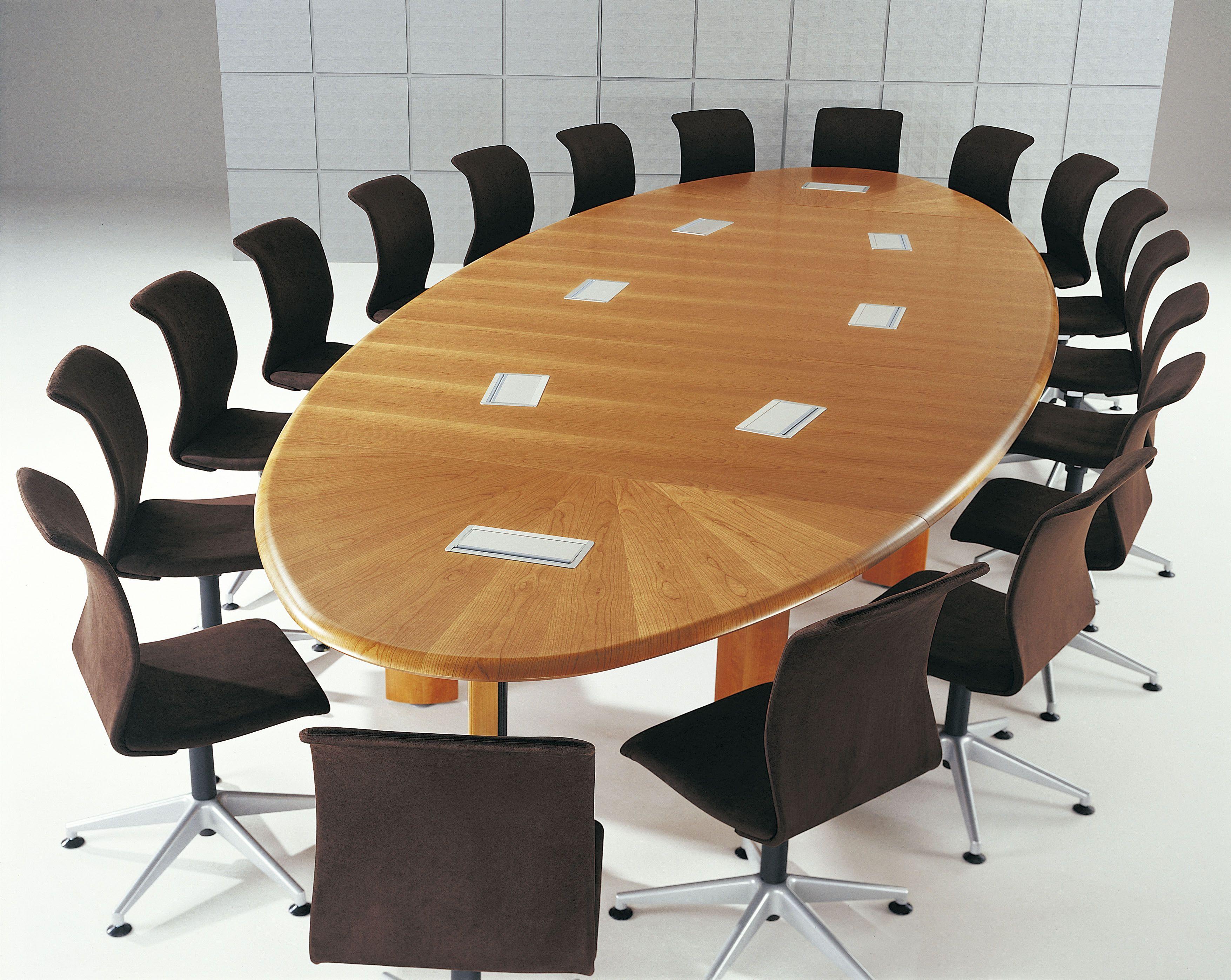 Table de runion elliptique 20 personnes chne avec top