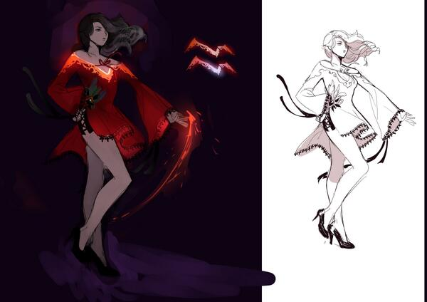 Concept art of Cinder Fall from RWBY. #RWBY #RWBYCinder #CinderFall #CharacterDesigns
