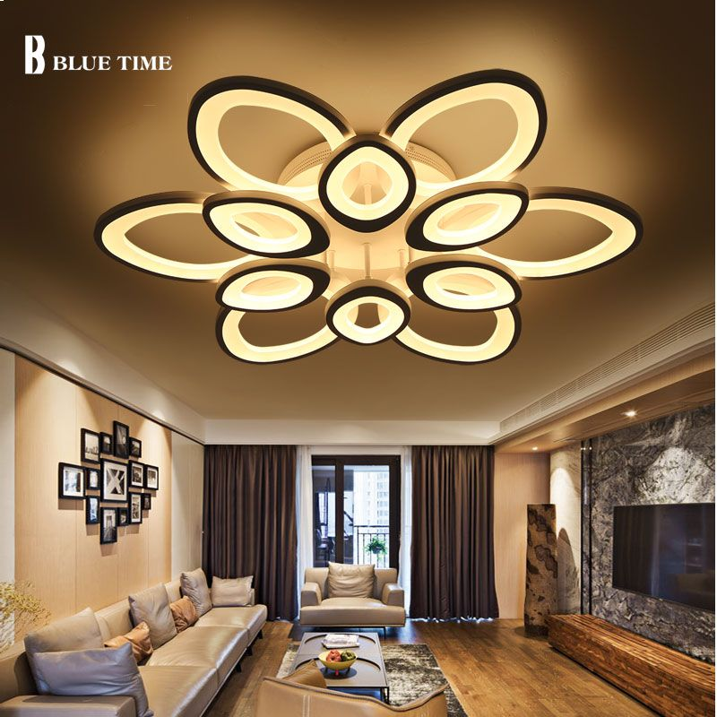 Ceiling Lights & Fans Ceiling Lights Self-Conscious Modern Led Crystal Chandelier Light Round Circle Flush Mounted Chandeliers Lamp Living Room Lustre Luminaria With Remote Control