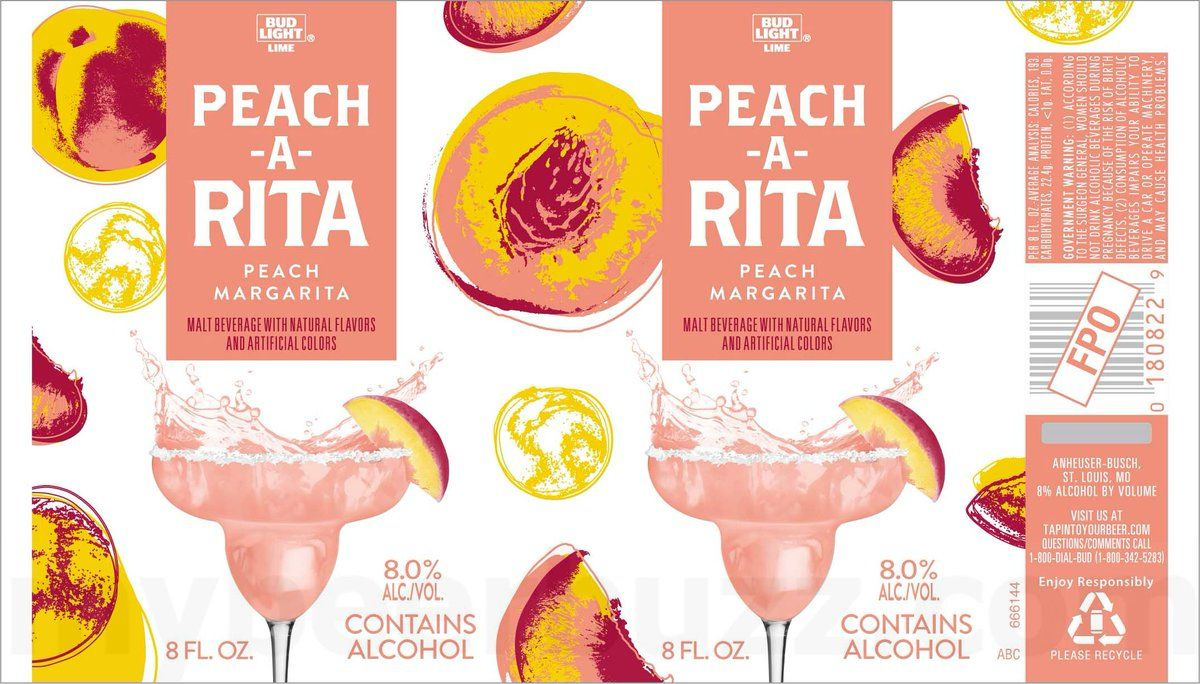 NOW We Get To See Some New Cans Coming From Bud Light Limeu0027s U201cRitau201d Family  Of Margaritas. We Have The New Packaging For Peach A Rita Calories Per  Serving), ...