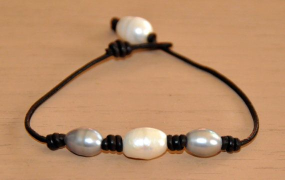 Freshwater Pearl and Leather Bracelet/Gray and by BonafideBeads