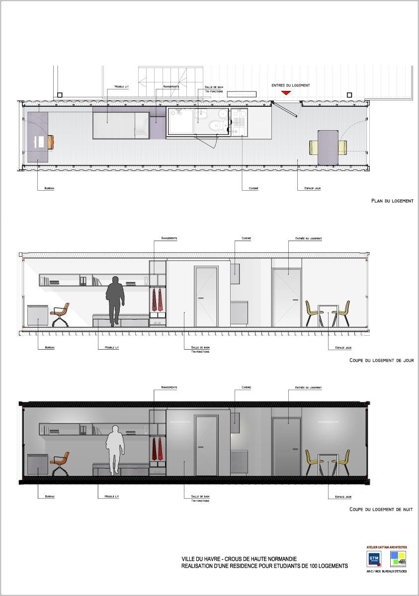 Cit a docks plans archi pinterest conteneurs for Plan amenagement container habitable