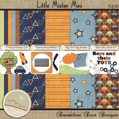 Digital Scrapbooking Little Mister Mini Kit #DandelionDustDesigns #DigitalScrapbooking
