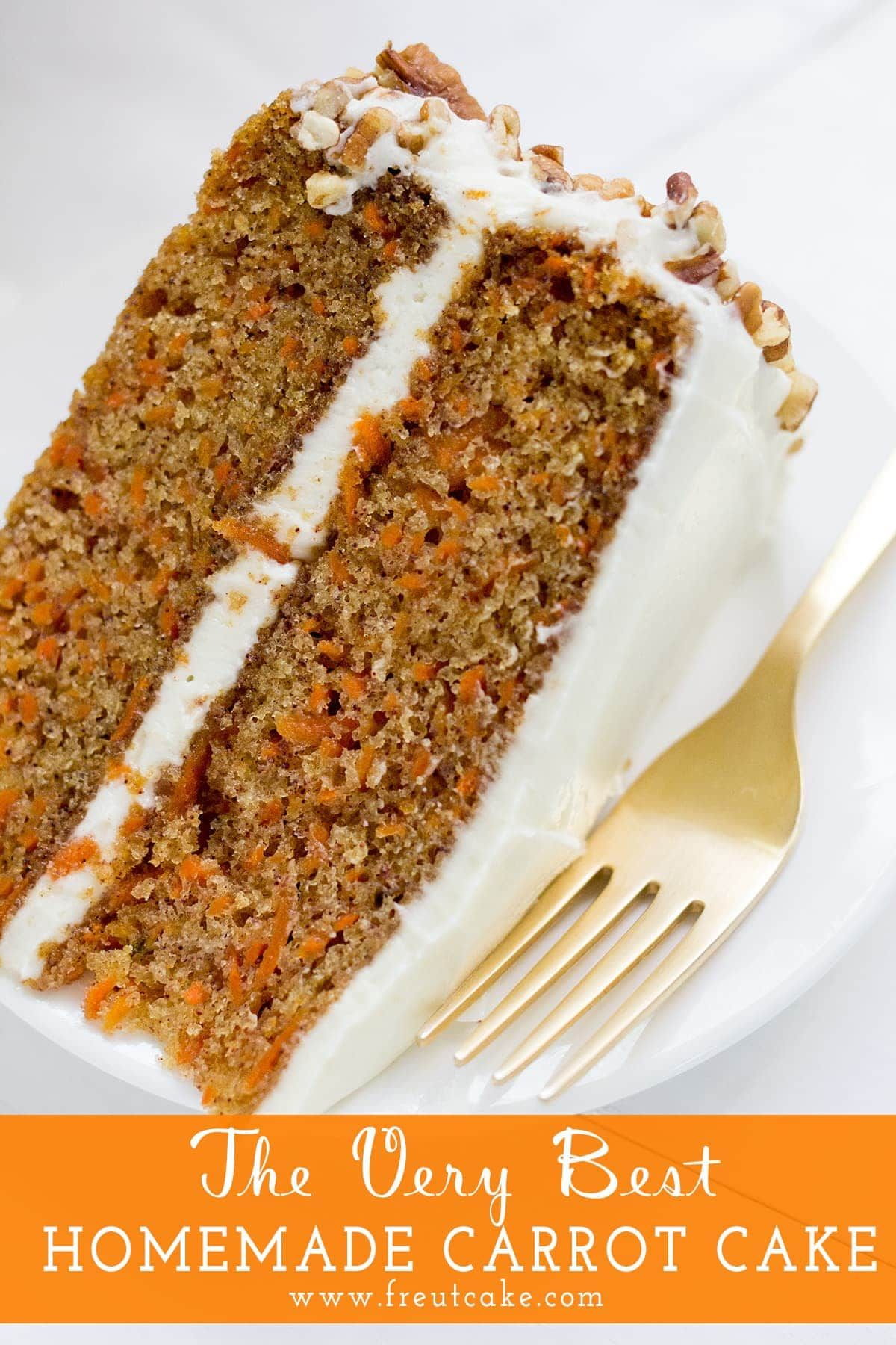 The Very Best Homestyle Carrot Cake with Cream Cheese Frosting perfect for Easter or any family celebration. #Easter #cake #cakerecipe #carrotcake #layercake #creamcheesefrosting