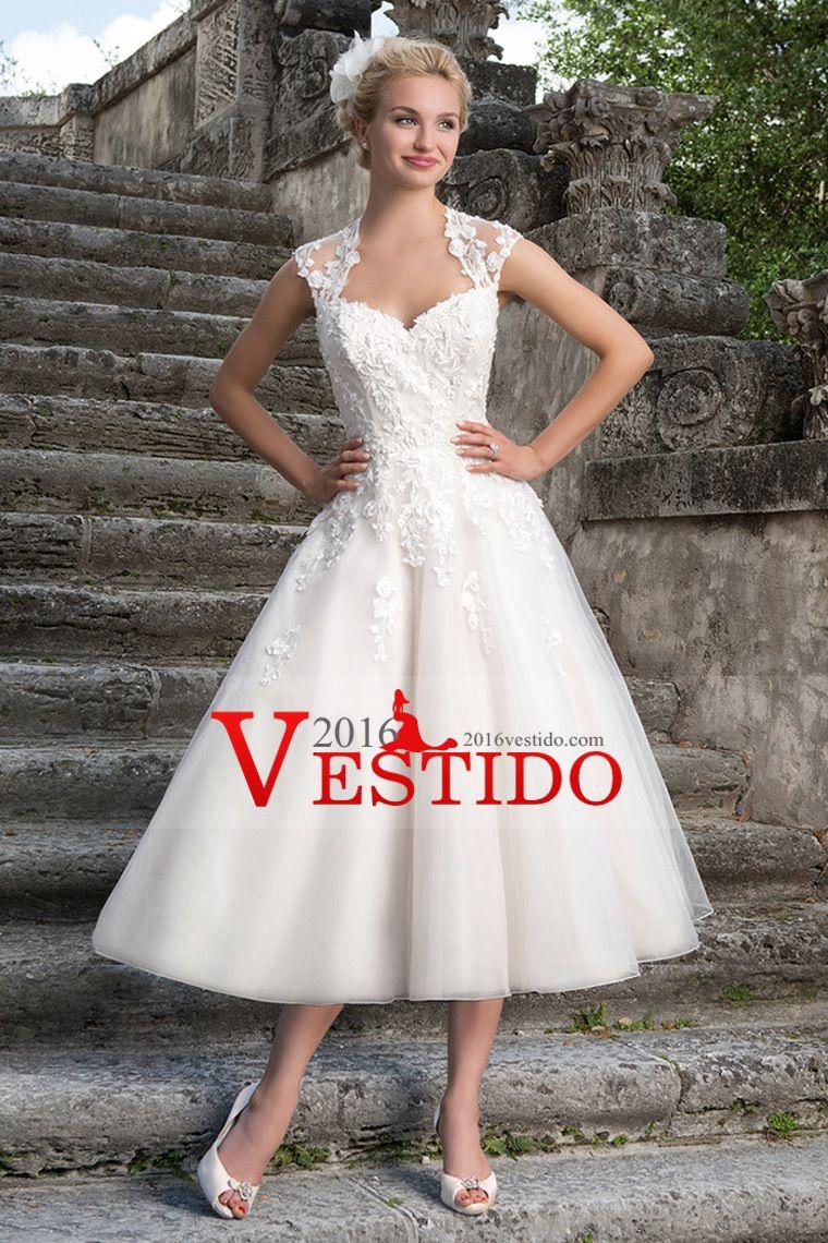 2016 Una línea de vestidos de boda de la plaza longitud de té con ...