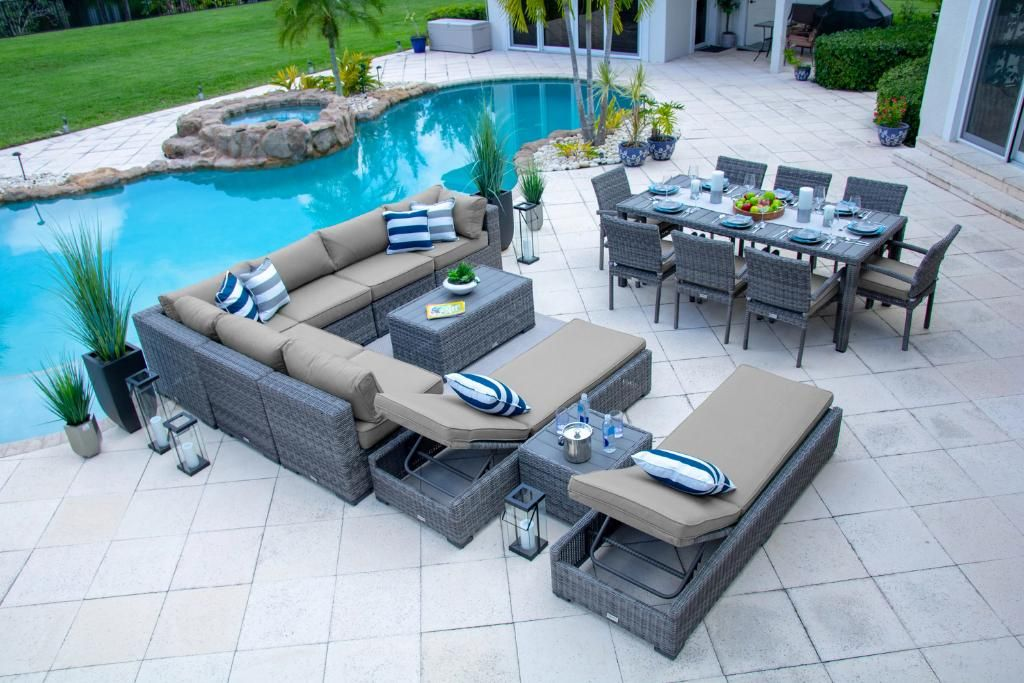 Tuscany 19 Piece Outdoor Patio Furniture Combination Set In Gray Patio Outdoor Chaise Lounge Chair Outdoor