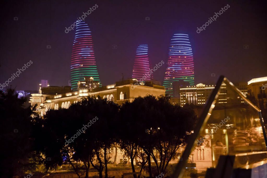 Night View Of Baku With Skyscrapers Of The Flame Towers It Is The Tallest Skys Affiliate Baku Skyscrapers Night View Ad Skyscraper Tower Night