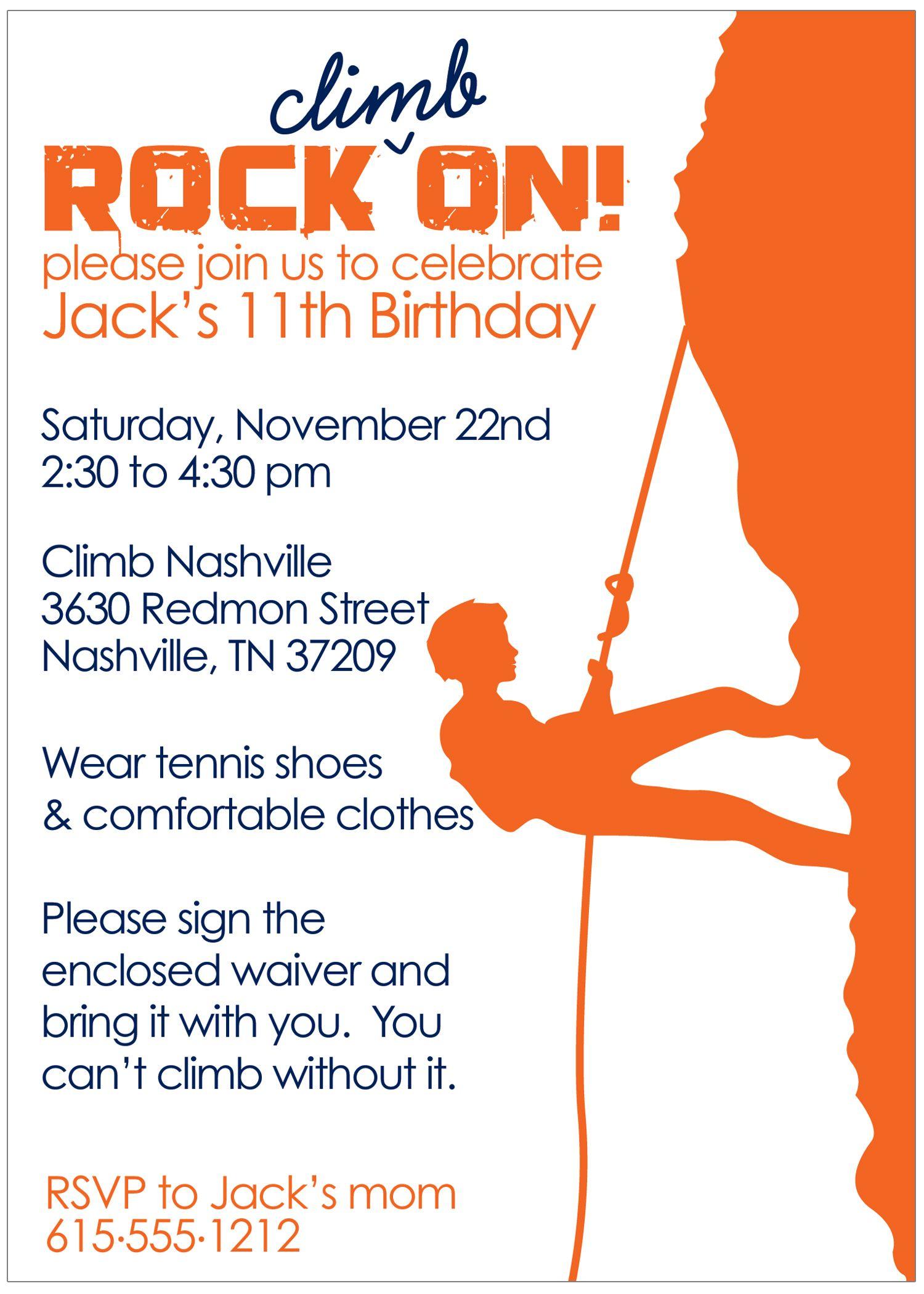 Rock Climbing Boy Birthday Invitation (Printed) | Pinterest | Rock ...