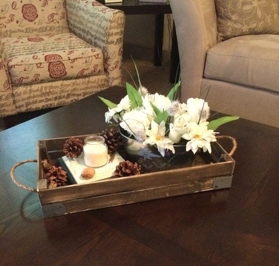 Stained Decorative Tray With Brackets Rustic Decor Coffee Table Countertop Shelf