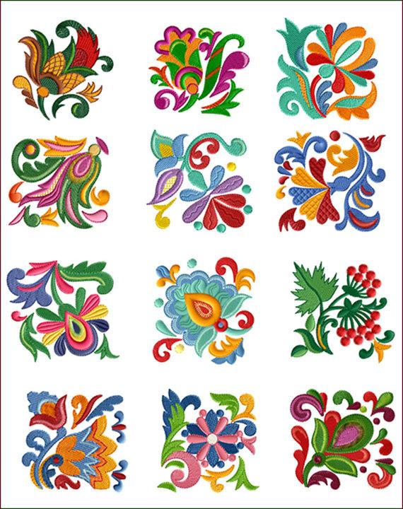 Folk Quilt Blocks 12 Machine Embroidery Designs for 4″x4″ hoop D2246