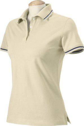 Harvard Square Ladies Pima Reserve Tipped Polo Sport Shirt. HS360W - Large - Stone / White / Navy Harvard Square. $10.00