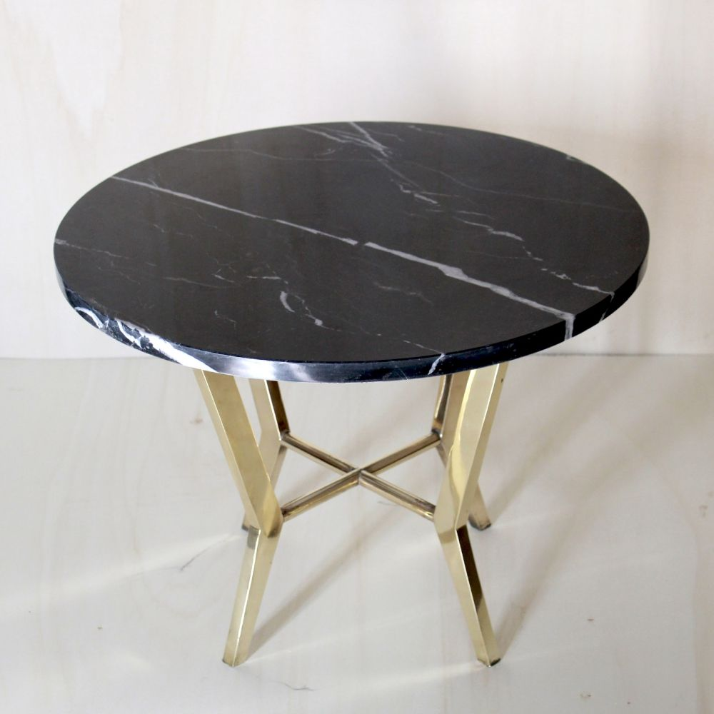 For sale Black marble top coffee table with brass