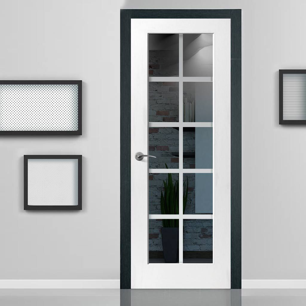 JBK DECCA WHITE PRIMED DOOR WITH ETCHED LINES ON CLEAR GLASS ...