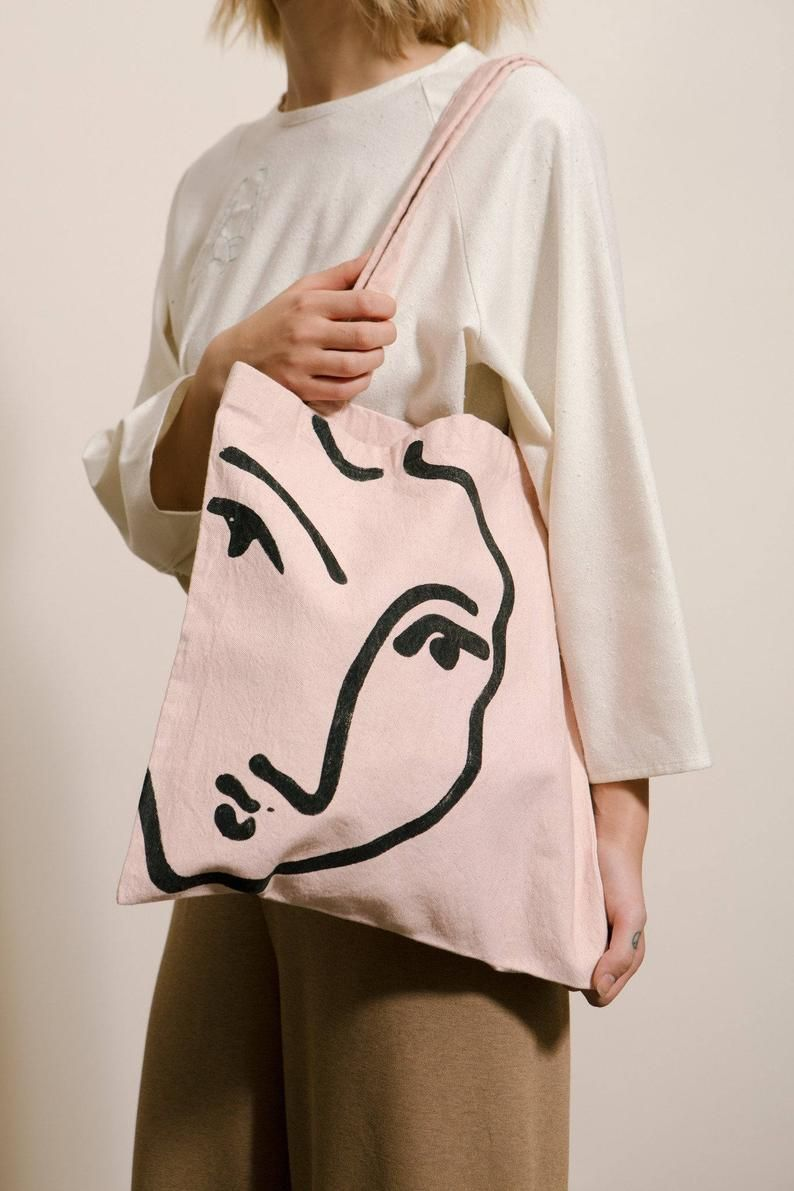 Nadia in Love Organic Tote Bag Pink Cotton Canvas Art Bag with Matisse drawing printed in Red