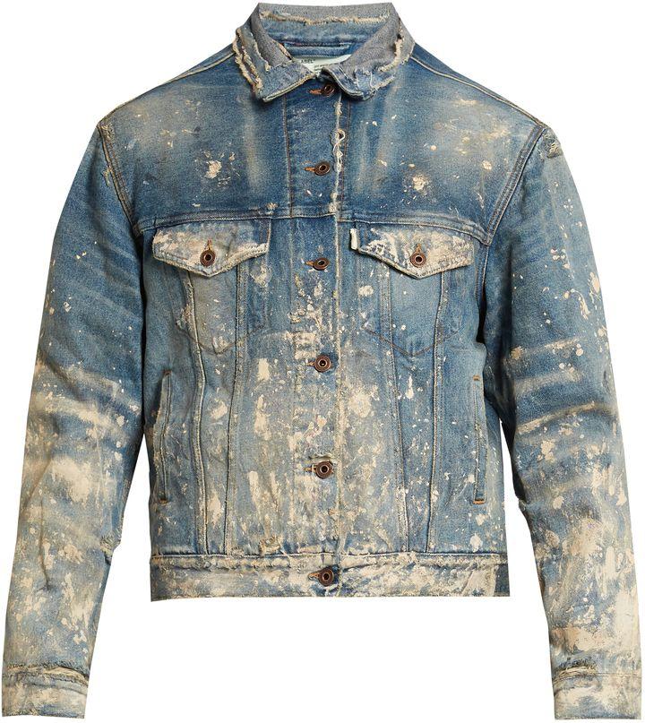 Off White Distressed Denim Jacket Denim Jacket Custom Denim Jacket Denim Inspiration