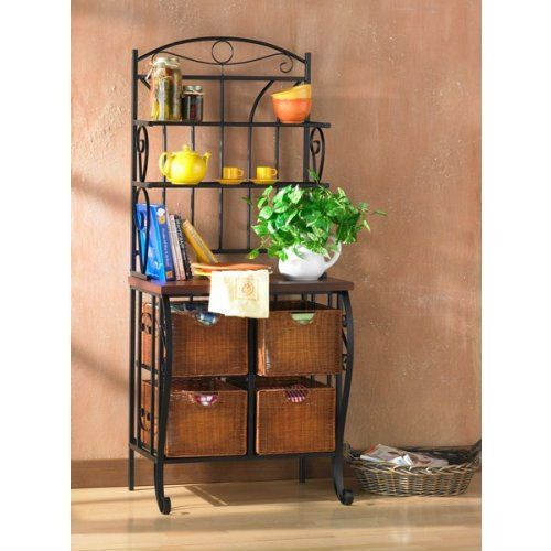 Kitchen Pantry Bakers Rack With 4 Wicker Drawers Kitchen