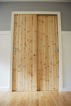 Great Reface Existing Doors With Knotty Pine Paneling.