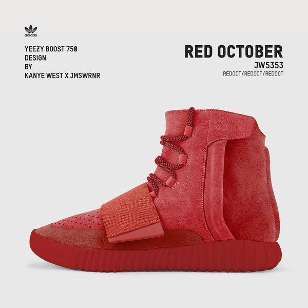 Kanye West X James Warner Custom Adidas Yeezy 750 Boost Red October