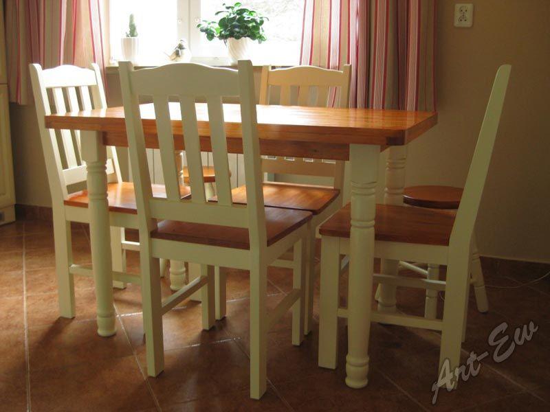Stół Okrągły Biały I 4 Krzesła Kratka Bar Kuchnia