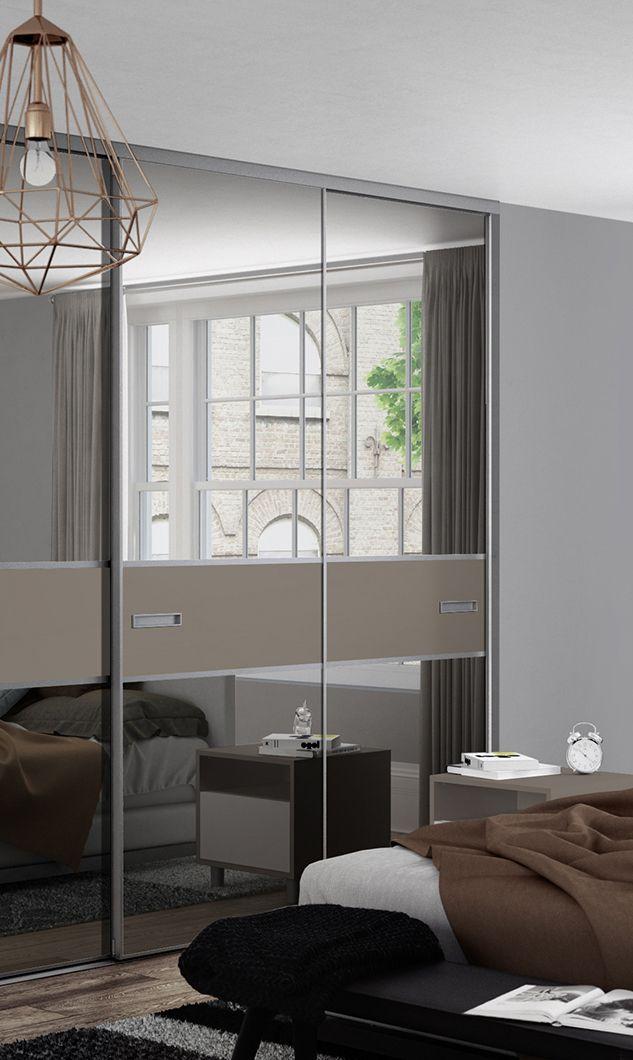 Premium Mini 3 panel fineline sliding wardrobe doors in Grey Mirror and Stone Grey with a & Premium Mini 3 panel fineline sliding wardrobe doors in Grey Mirror ...