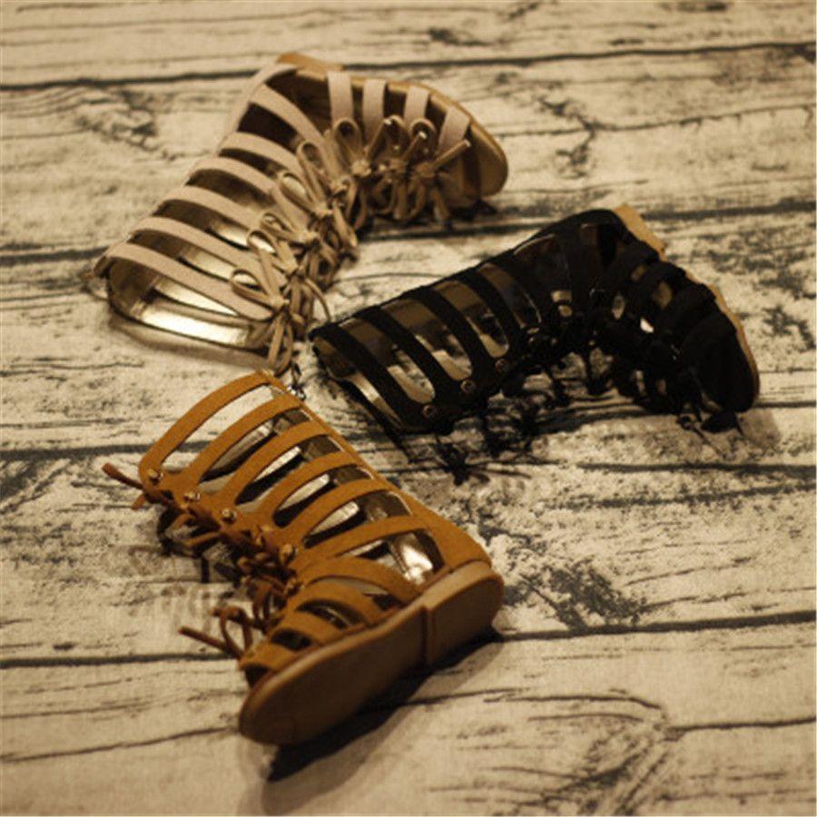 9571c66856b Genuine leather summer brown black girls gladiator sandals boots High-top  fashion Roman kids sandals