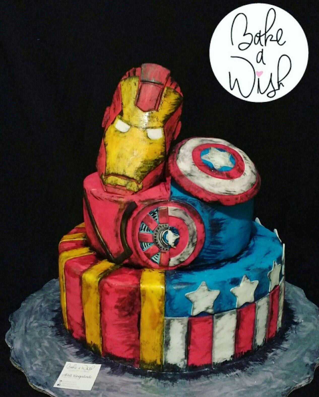 Civil War Cake Irnman Vs Cap America War Cake Cake Decorating Cake