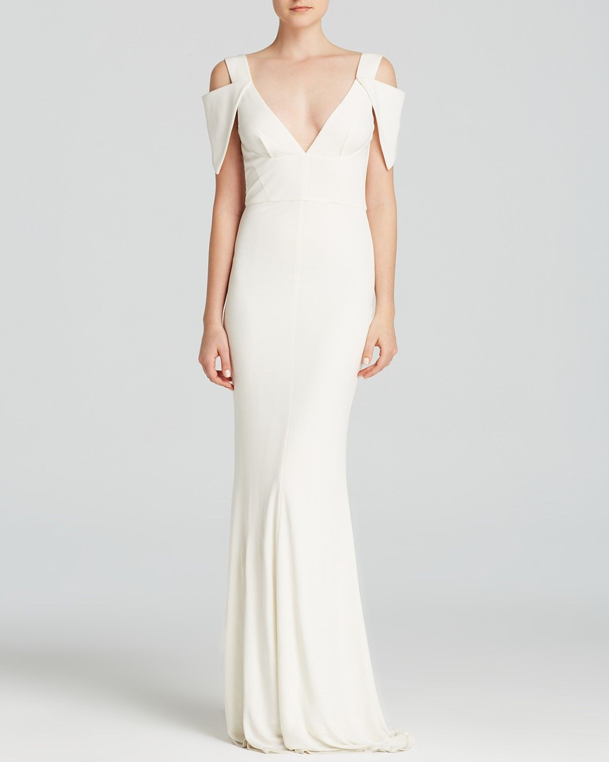 Abs By Allen Schwartz Gown Cold Shoulder Deep V Neck Jersey Editorial The Prom Shop Bloomingdale S Cold Shoulder Wedding Dress Wedding Dresses Under 500 Wedding Dresses Unique,Country Wedding Rustic Mother Of The Bride Dresses