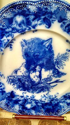 ANTIQUE WEDGWOOD FLOW BLUE CLYTIE PLATE FOX WITH DUCK IN MOUTH HIGHLY UNUSUAL NR