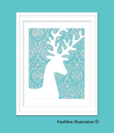 Deer with Antlers Silhouette 8x10 Art Print in Your custom color scheme. $18.95, via Etsy.