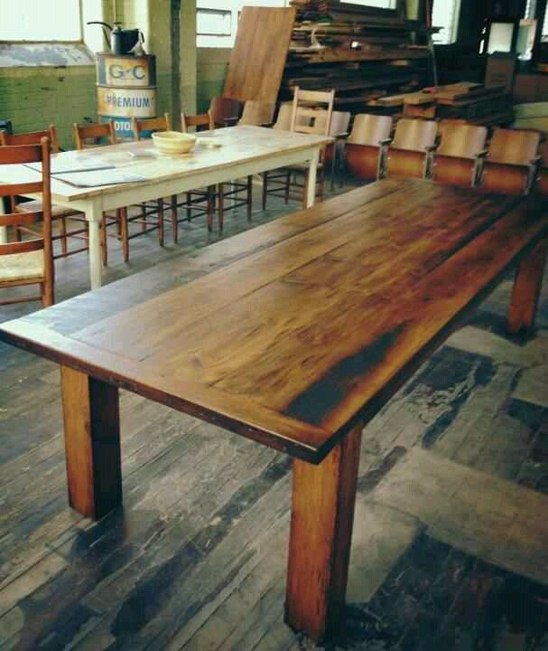10 Foot Reclaimed Heart Pine Dining Table By Mobili Farm Tables Pine Dining Room Dining Room Table Pedestal Dining Room Table