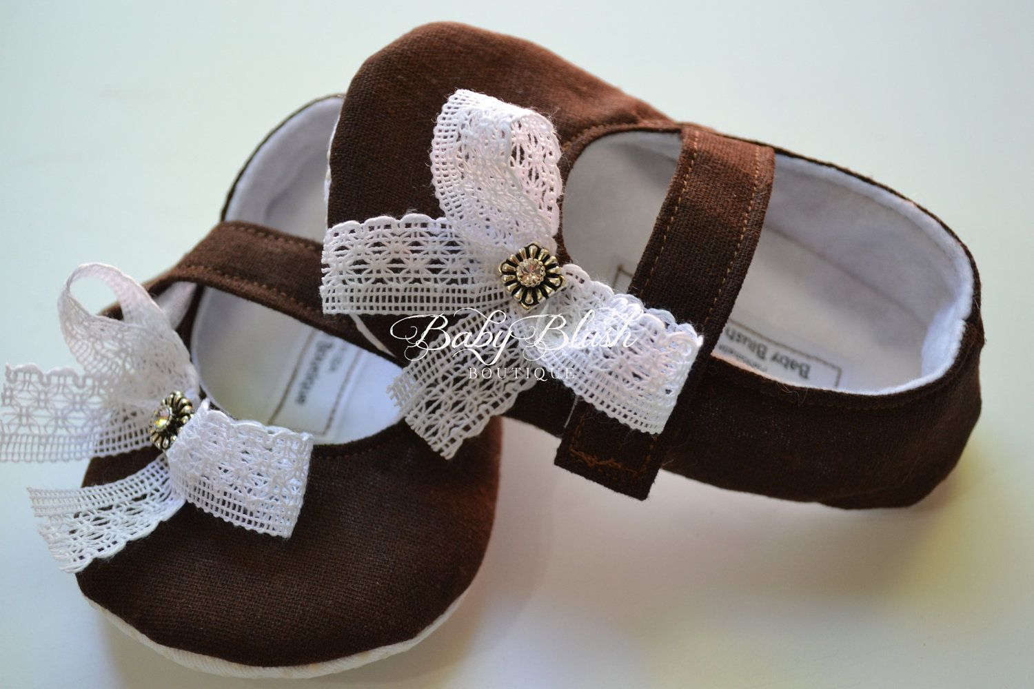 Brown Linen Baby Shoes Soft Ballerina Slippers Baby Booties. $28 ...