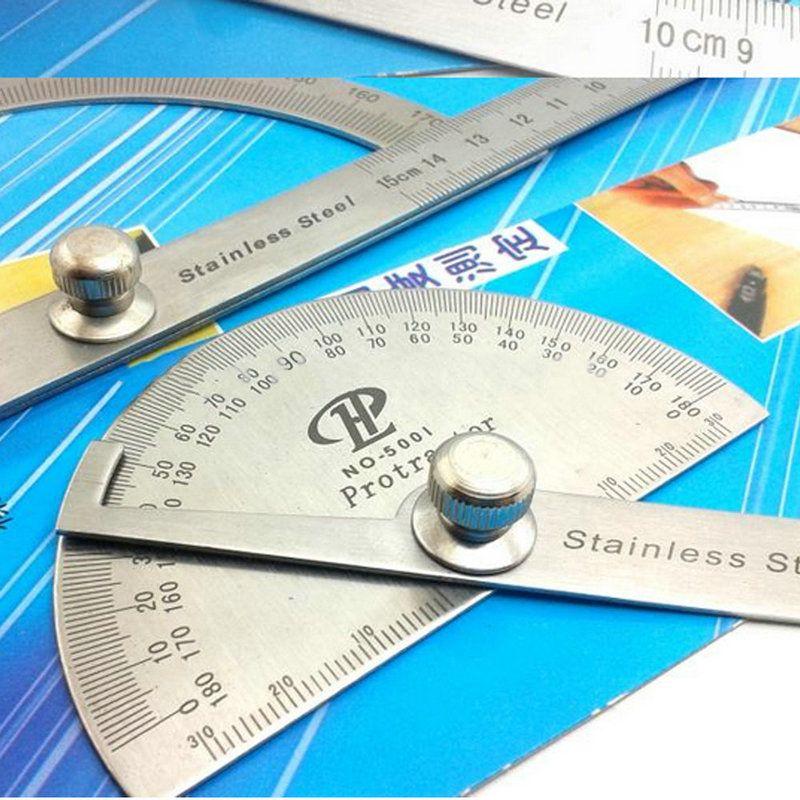 180 Degree Stainless Steel Protractor 100mm Arm Measure Metal Ruler Angle Gauge