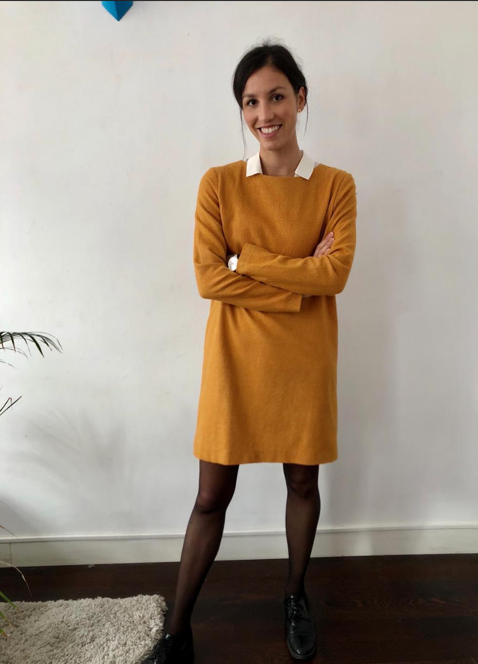 71c6887866a5 Robe droite moutarde en laine vierge - Carolyne en 2019