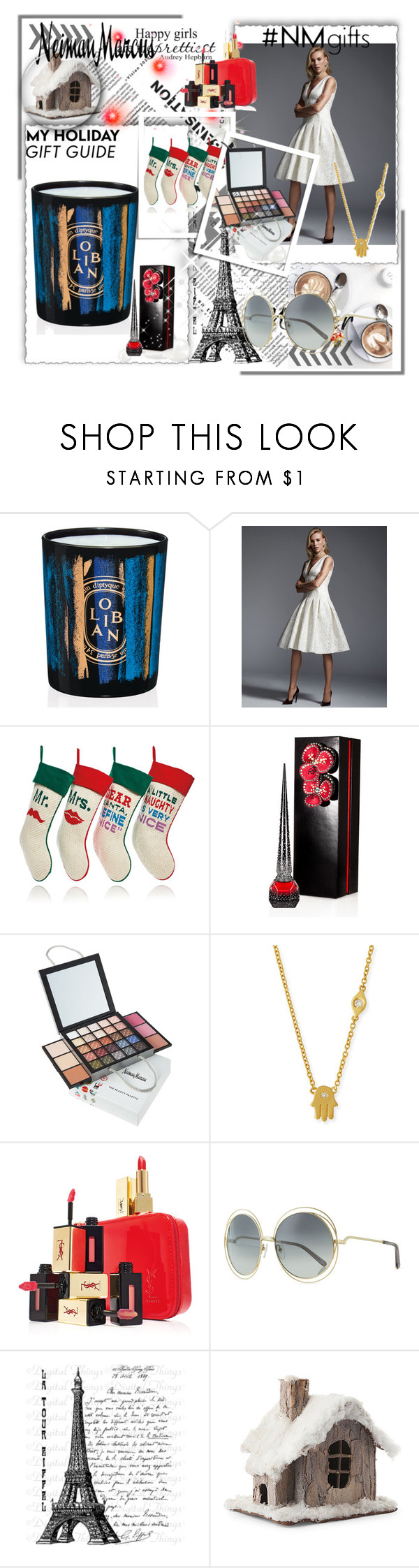 """""""The Holiday Wish List With Neiman Marcus: Contest Entry"""" by elle993 ❤ liked on Polyvore featuring Diptyque, Carmen Marc Valvo, Jonathan Adler, Christian Louboutin, Neiman Marcus, Sydney Evan, Yves Saint Laurent, Chloé and NMgifts"""