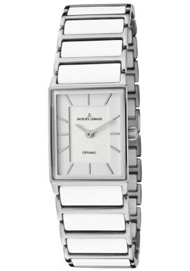 (Limited Supply) Click Image Above: Jacques Lemans 1651e Women's York Silver/white Dial Stainless Steel& White Ceramic Watch
