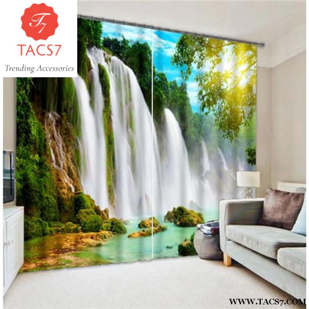3D Nature Waterfall Curtains Blackout Window Curtain for Living Room Drapes Deco