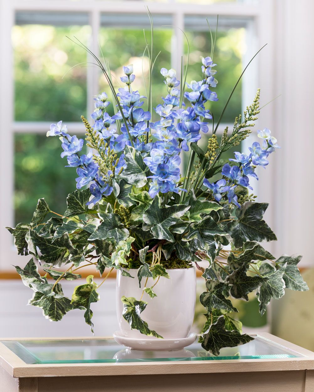 Delphinium Ivy Silk Flower Planter Blue Pinterest