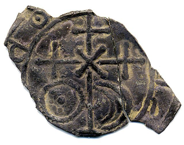 A Finnish made coin imitating oriental coins. From 11th century, found in Ikaalinen, Central Finland.