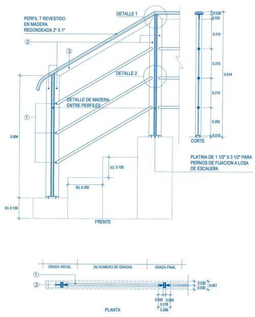 Aceros arequipa plano baranda de dise o vanguardista for Dimensiones de escaleras